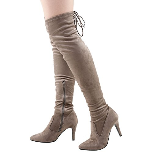 Feet First Fashion Rochelle Womens Mid Stiletto Heel Over The Knee Tie Top Boots Khaki Taupe Faux Suede 0IsqV