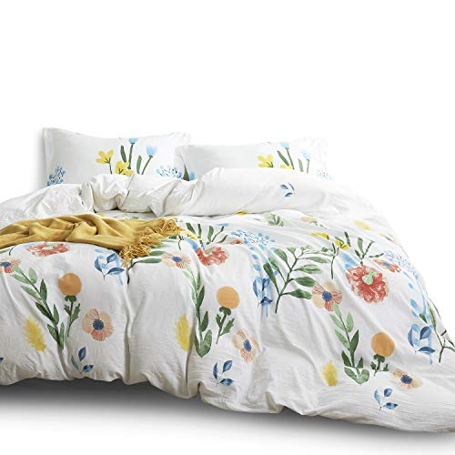Wake In Cloud - Watercolor Comforter Set King, 3-Piece Colorful Floral Leaves Flowers Painting Pattern Printed, Soft Washed Microfiber Bedding (3pcs, King Size)