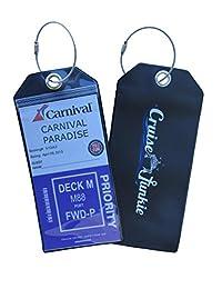 Cruise Junkie Luggage Tag 4 Pk Zip Seal Etag Holder w/Steel Ring