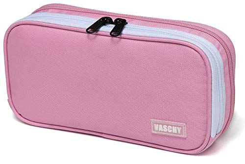 Pencil Case,Vaschy Large Capacity Pen Holder Pouch with Double Zippers Multi Compartments Easy Organized Mesh Pockets (Pink)