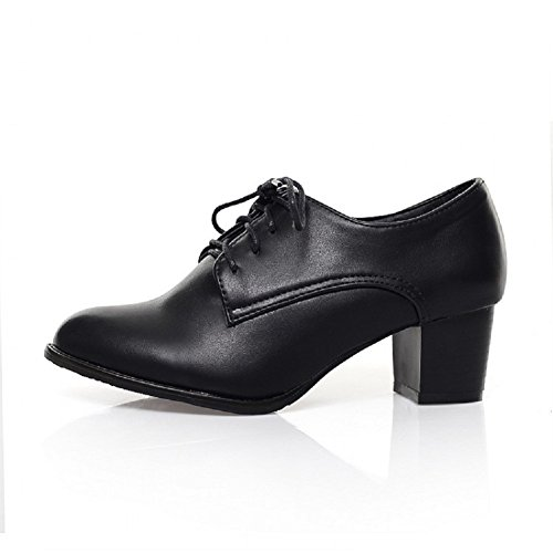 Charme Pied Mode Womens Oxfords Chaussures Mi-talon Lace Up Noir