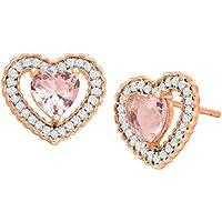 Finecraft 2 7/8 ct Morganite & Cubic Zirconia Heart Stud Earrings