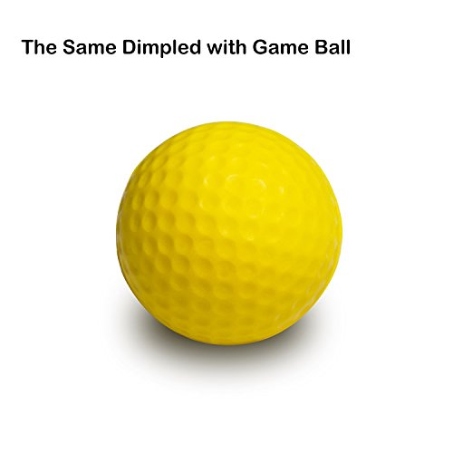 Caiton Golf Balls Practice, Practice Balls Soft Foam with Indoor Golf Tee Yellow One Dozen by Caiton (Image #3)