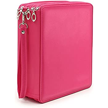BTSKY 160 Slots Colored Pencil Organizer - Deluxe PU Leather Pencil Case Holder (Pink)