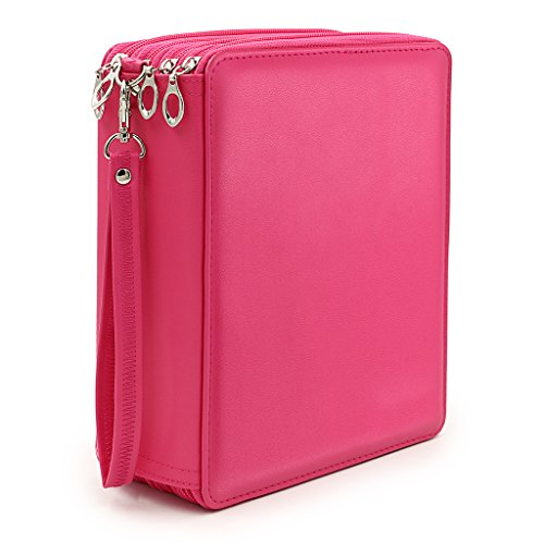 BTSKY 160 Slots Colored Pencil Organizer - Deluxe PU Leather Pencil Case Holder (Pink) (Case 120 Pencil Holds)