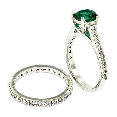 Classic/Vintage Wedding Ring Set W/Emerald, White CZs Size 6