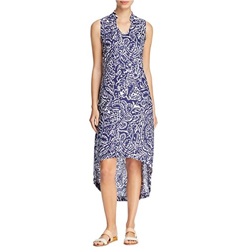Nic + Zoe Womens Linen Printed Casual Dress Navy XS