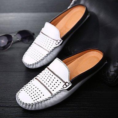 Zapatos de hombre casual Slip-on de cuero negro / azul / blanco Blue