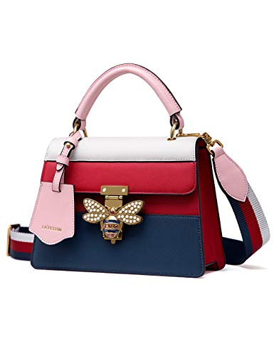 LA'FESTIN Leather Tote Handbags for Women Pink and Blue Striped Shoulder Purses with Bee Buckle ()
