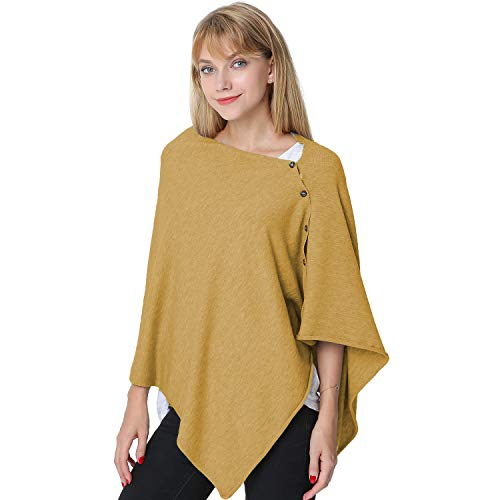 PULI Women's Versatile Knitted Scarf with Buttons Shawl Poncho Cape Cardigan, Khaki by Puli (Image #7)