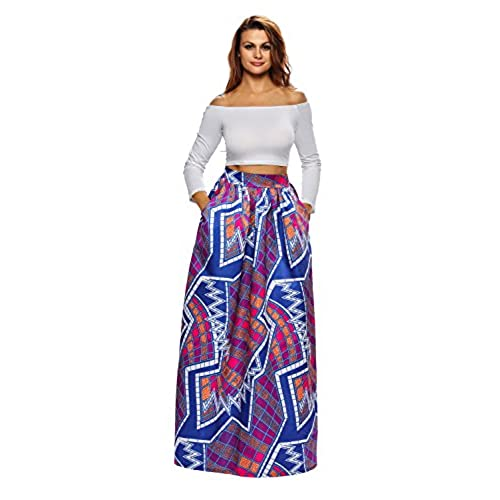 African Print High Waist Maxi Skirts Plus Size African Prin...