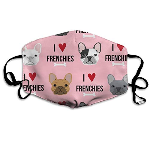 Mouth Mask I Love French Bulldogs Earloop Face Masks - Adjustable Elastic Band for Skate Climbing, Anti Flu Anti-Dust Respirator, Half Face Mouth Mask/Cover