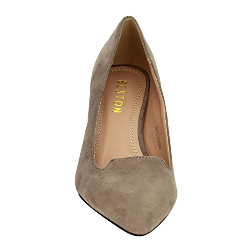 Beston JA04 Womens Low Stiletto Heel Basic Plain Pumps Shoes One Size Big Taupe BsoJv6rO