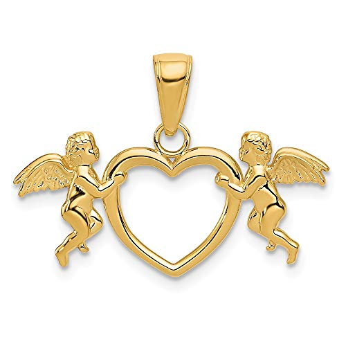 14K Yellow Gold Jewelry Pendants & Charms Solid Flying Cherubs Holding Heart Pendant