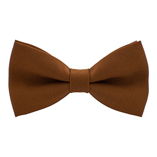 Classic Pre-Tied Bow Tie Formal Solid Tuxedo, by Bow Tie House (Large, Spice Brown)