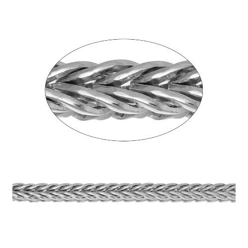 - Length Of 2 Metres Silver Metal Alloy 2 x 2.5mm Foxtail Link Chain - (CH2610) - Charming Beads
