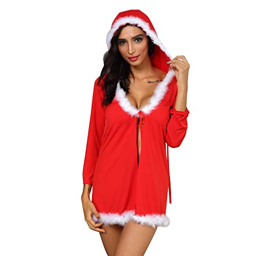 ZOMUSAR Lingerie, Women Lace Sexy Christmas Lingerie Hooded Robe Pajamas Bathrobe Underwear S-3XL Red