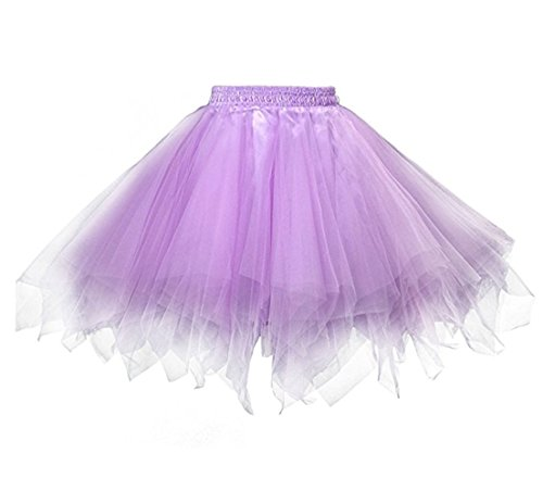 Kileyi Womens Tutu Costume Adult Party Dance Tulle Skirt Short Fluffy Petticoat Lavender S