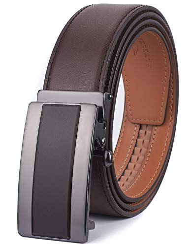 (plyesxale Men's Belts Leather Ratchet Dress Belt with Automatic Buckle Gift Box (Chocolate Brown Belt K195S12, Waist:26-36