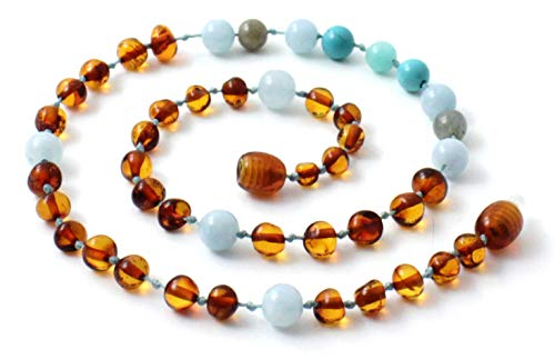 TipTopEco Baltic Amber Teething Necklace Made with Gemstones - 14.2 Inches Long - Polished Cognac Beads (Cognac/Gemstones, 14.2 Inches) ()