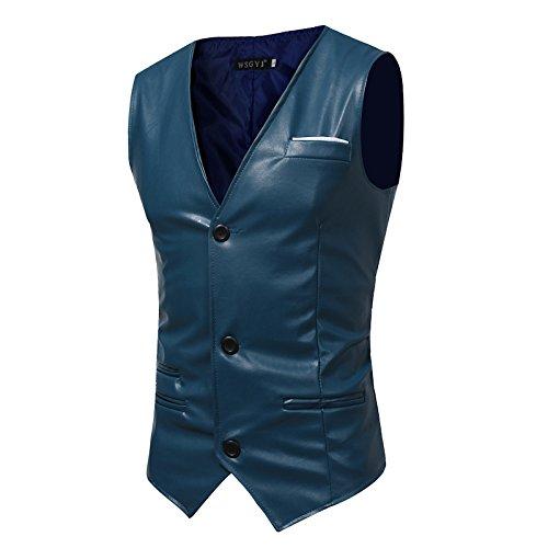 Männer - Slim - Anzug, Weste, Mann ist Einfachheit, self - anbau, pu Haut, Herr Weste,Navy Blau,l