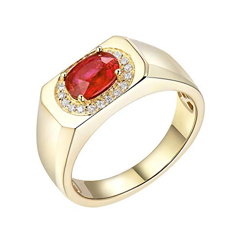 - Beyond jewelry 1.1 Carat Natural Ruby Wedding Ring for Men 14K Yellow Gold with Genuine Diamond