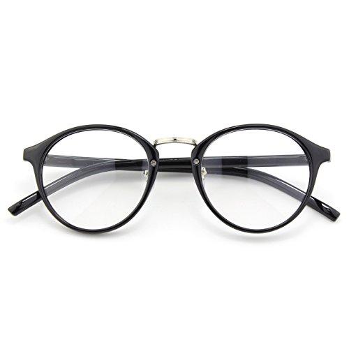 [Happy Store CN65 Vintage Inspired Horned Rim Metal Bridge P3 UV400 Clear Lens Glasses,Glossy Black] (Geek Chic Glasses)