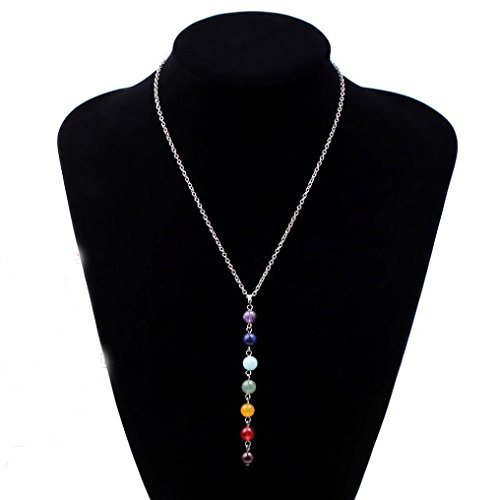 Usstore Pendants Women 7 Chakra Beads Chain Necklace Yoga Reiki Healing Balancing Jewelry Gift