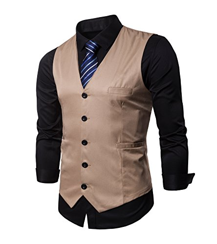 - AOYOG Men's Business Suit Vests Waistcoat Slim Fit for Suit or Tuxedo, Champagne, X-Large