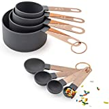 COOK With COLOR 8-Piece Nylon Measuring Cups and Measuring Spoon Set With Rose Gold Copper Handles (Grey)
