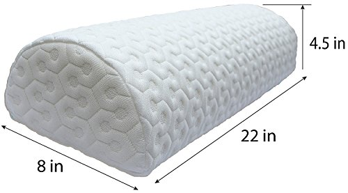 Positioning Bolster (Joey's Room Half Moon Pillow | Bolster for Leg Elevation and Lower Back and Knee Support for Side Sleeper | Honeycomb Heavyweight Removable Cover)