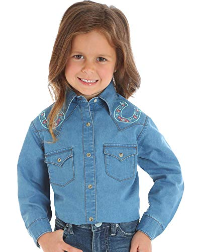 - Wrangler Girl's Long Sleeve Blue Western Shirt with Horseshoe Embroidery (X-Small)