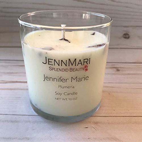Splendid Beauty | Plumeria Scented Soy Candle Glass Jar | 10 Oz | Handmade | Eco-friendly | Vegan | Cotton Wick | 100% Soy -