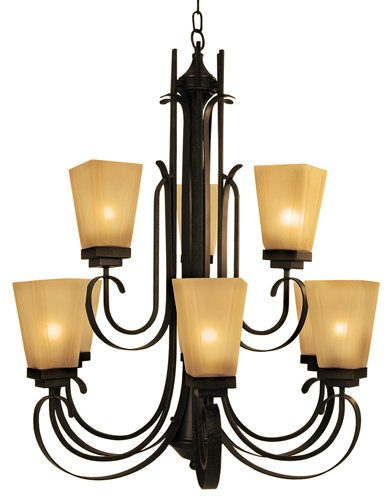 Yosemite Home Decor 92739-3+6VB Nevada Falls Chandelier with Amber Mist Shades, 9-Light, Venetian Bronze (Light Bronze Nine Venetian)