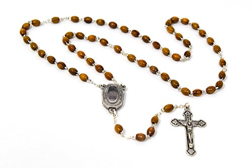 Chaplet Wood Olive (DIRECT FROM LOURDES Genuine Olive Wood Lourdes Water Rosary Beads, Lourdes Water Junction Centre, Catholic Chaplets & Lourdes Prayer Card)