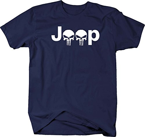 - Jeep Logo with Punisher Skulls 4X4 Off Road Wrangler- Mens T Shirt - Xlarge