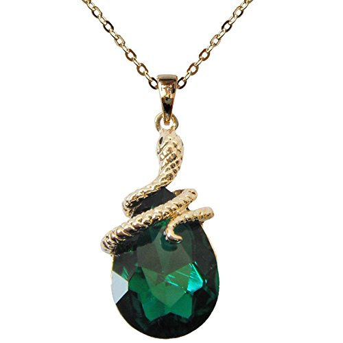 Navachi 18k Gold Plated Water Drop Crystal Green Zircon Az6003p Snake Pendant Necklace 16