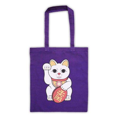 Bag Tote Neko Cat Lucky Maneki Purple 4ZgqItnAW