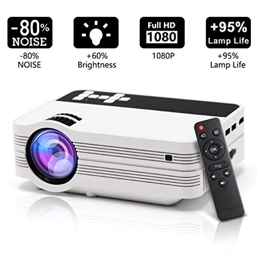 Projectors,Mini Portable LCD Video Projector Multimedia with Free HDMI Cable and Tripod,1000 Lumens Supports 1080p,HDMI,VGA,USB,AV,SD for Multi-media Home Cinema Theater Movie Nights and Video Games by Qimh