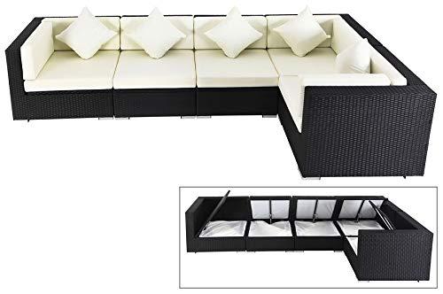 OUTFLEXX XXL Lounge Sofaset aus hochwertigem Polyrattan in schwarz für 6 Personen, inkl. Polster-Kissen und Kissenboxfunktion mit wasserresistenter Innentasche, Zeitloses Design, wetterfest