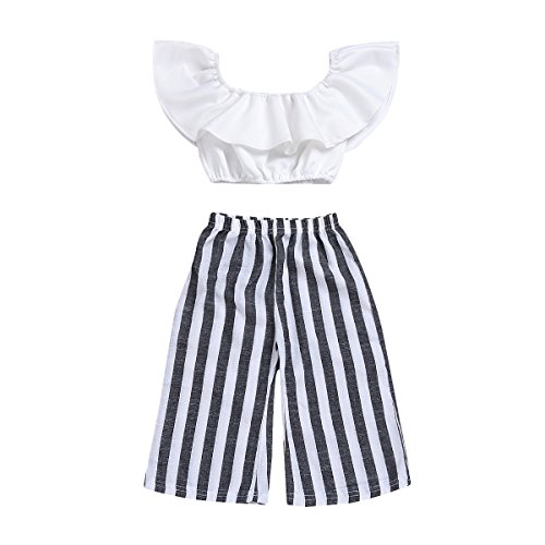 (Ninstar Kids Toddler Baby Girl Outfit Clothes, Ruffle Off Shoulder Top Stripe Long Flared Pant Sets White Black)