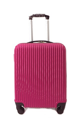 Super Lightweight Cabin Approved Hard Shell ABS Luggage Travel Wheelie Bag suitcase Trolley Cabin Approved Case 50x40x20 Easyjet Ryanair (Rose)