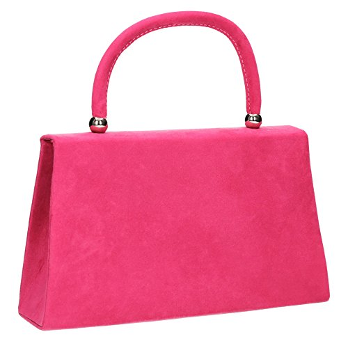SwankySwans - Kendall Suede Envelope Party Prom Clutch Bag, Sacchetto Donna Fuschia