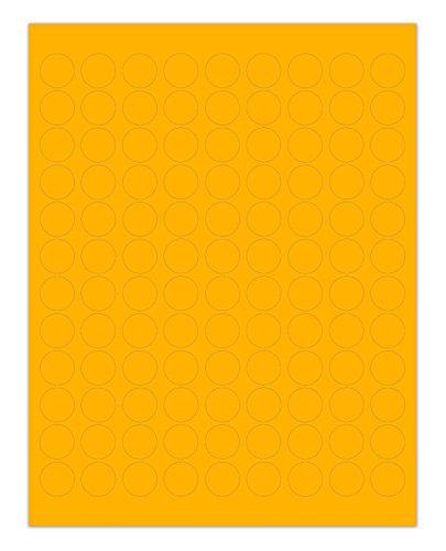 ChromaLabel 3/4 inch Round Labels for Laser & Inkjet Printers | 2,700/Pack (Fluorescent Orange) (Black Label Flat Flame)