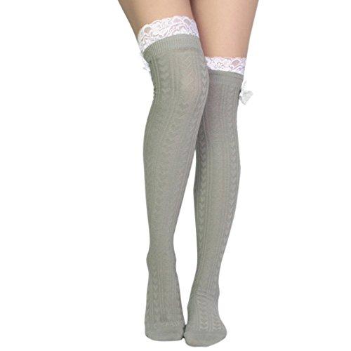 kilofly Women's Lace Trim Knee-High Boot Socks, Light Gray (Argyle Lace)