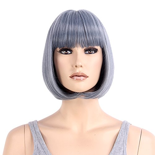 "Price comparison product image Stfantasy Wigs for Women Bob Short Straight Cosplay Costume Party Synthetic Hair+Cap(12"" Granny Grey)"
