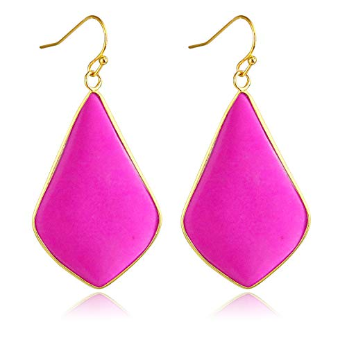 Stone Crystal Dangle Drop Earrings Teardrop/Oval Stylish Jewelry for Women Ladies Girls (Rose Turquoise(Rhombus))