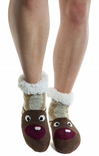 Women's Faux Fur Indoor Christmas Holiday fuzzy Socks with Grippers -17 Reindeer
