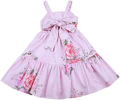 Flofallzique Vintage Floral Summer Girl Dress Easter Cotton Casual Toddler Dress