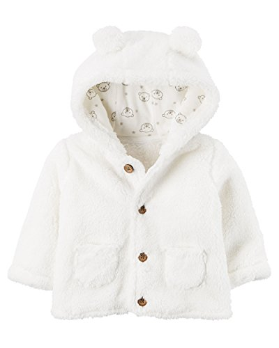 Carter's Baby Hooded Sherpa Jacket (9 Months, White)
